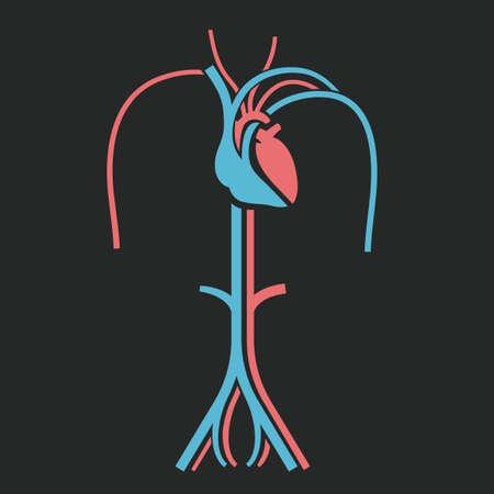 심장 및 정 맥 기호입니다. 기호 개발, 인물, 엽서, 전단지, 브로셔, 인쇄물, 책 및 포스터 그래픽 디자인에 유용합니다. 아름 다운 벡터 illustation 분홍색 및 연한 파랑 색상.