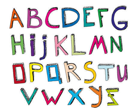 typeset: Hand drawn vector typeset. Volumetric handmade letters. Multicolored English alphabet in funny style on a white background. Useful for creating children books covers, educational and school designs
