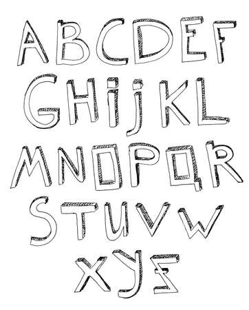 typeset: Hand drawn vector typeset. Volumetric handmade letters. English alphabet in black color on a white background.