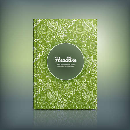 Vector handdrawn biology brochure cover template. Modern backgrounds for poster, print, flyer, book, booklet, brochure and leaflet design. Editable graphic concept in white and green colors