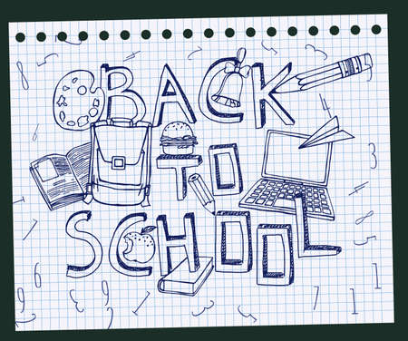 blue pen: Hand Drawn school related image. Vector illustration. Blue pen drawing on a white exercise book sheet background. Back to school concept in sketchy style Illustration