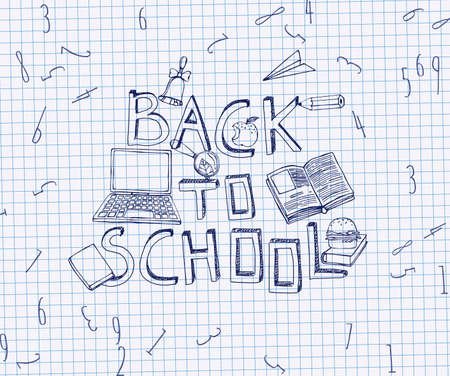 exercise book: Hand Drawn school related image. Vector illustration. Blue pen drawing on a white exercise book sheet background. Back to school concept in sketchy style Illustration