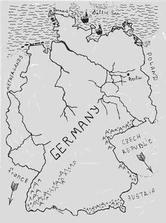 boarders: Germany hand drawn map. Editable vector illustration. Geographical concept in plain funny style on a textured light grey background. Black Ink drawing concept.