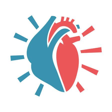 Herz-Symbol. Nützlich für die Zeichen Entwicklung, indographics, Postkarte, Prospekt, Broschüre, Print, Buch- und Plakatgrafikdesign. Schöne Vektor illustation in rosa und hellblauen Farben. Vektorgrafik