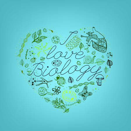 Hand drawn biology pattern with green llettering on a light blue background in a shape of heart. Editable vector illustration. Scientific typography. I love biology concept