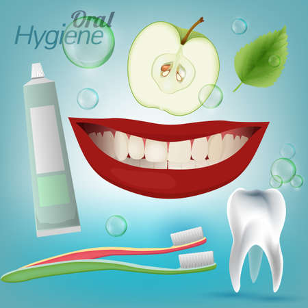 higiene bucal: Best friends of healthy tooth. Oral Hygiene Image on a light blue background. Vector illustration Vectores