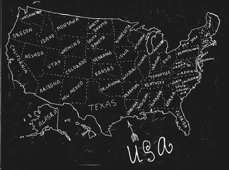 ink drawing: USA hand drawn map. Editable vector illustration. Geographical concept in plain funny style on a textured dark grey blackboard background. Ink drawing concept. Illustration
