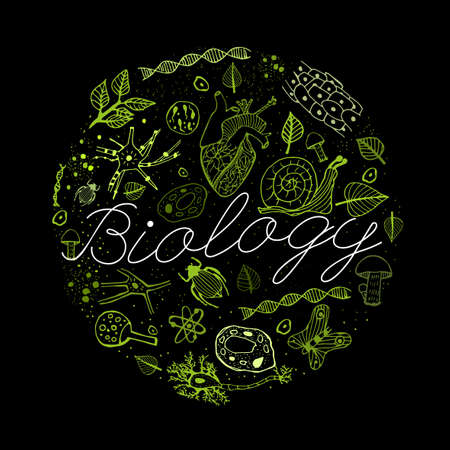 naturalist: Hand drawn biology neon green pattern with white lettering on a black background in a shape of circle. Editable vector illustration. Scientific typography. I love biology concept Illustration