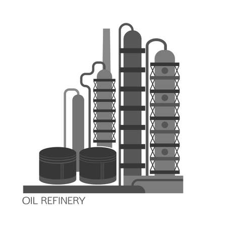 chemical plant: Oil refinery or chemical plant image. Vector illustration im black and grey colors on a white background. Oil patch symbol