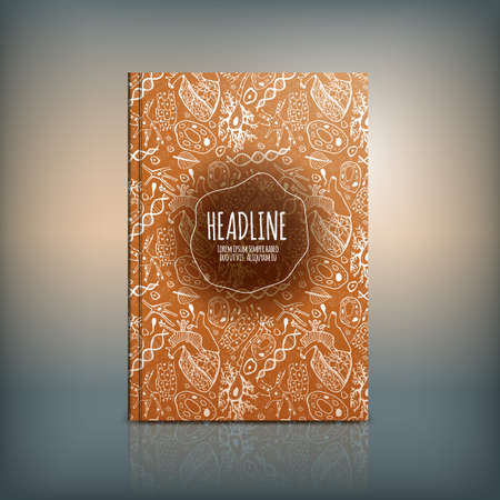 naturalistic: Vector handdrawn biology brochure cover template with beautiful naturalistic pattern. Modern background useful for poster, print, flyer, book, booklet and leaflet design. Illustration