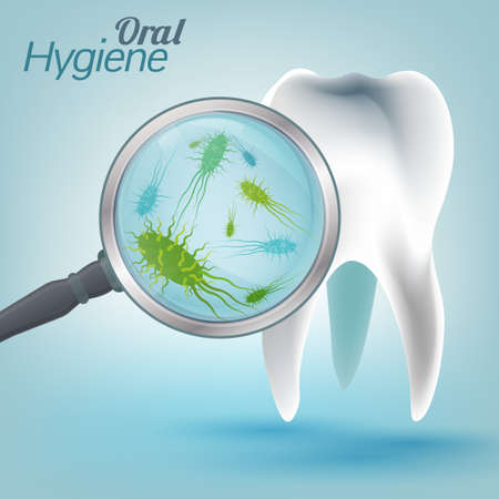 Microscopic bacterias and viruses around tooth in a virtual mouth. Hygiene medical concept. with magnifying glass. Vector illustration in light blue colors