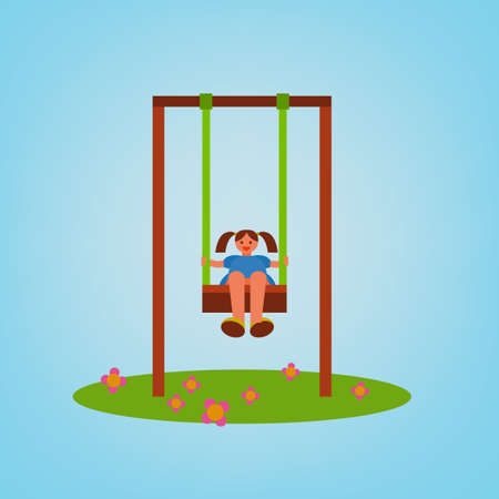 see saw: Beautiful children swing with a girl swinging. Vector illustration in bright blue, green, brown and orange colours in cartoonish style.