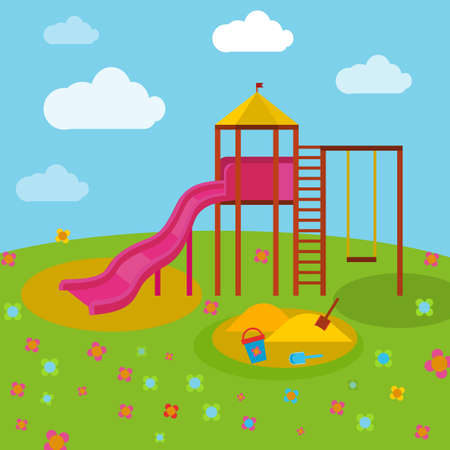 tot: Beautiful children playground. Vector illustration in bright blue, green, yellow and orange colours in cartoonish style.
