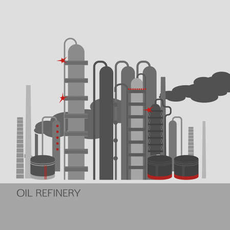oilwell: Oil refinery or chemical plant image. Vector illustration im grey, red and light grey colors on a light grey background. Oil patch symbol Illustration