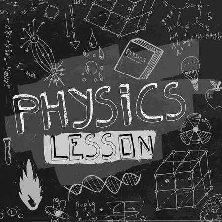 crosscut: The illustration of beautiful black scientific background with chalk handwriting. Physical class blackboard. Totally vector fully scalable image with white handwritten text. Illustration