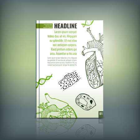 investigative: Vector handdrawn biology brochure cover template. Modern backgrounds for poster, print, flyer, book, booklet, brochure and leaflet design. Editable graphic collection in white, black and green colors