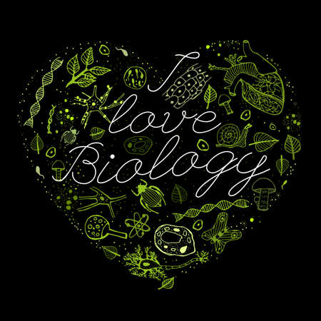 Hand drawn biology green pattern with white lettering on a black background in a shape of heart. Editable vector illustration. Scientific typography. I love biology concept Illustration