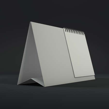 Blank calendar on a dark background. 3D rendering. Stock Photo