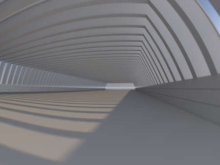 Abstract modern architecture background, empty white open space interior with windows, 3D rendering Stock Photo