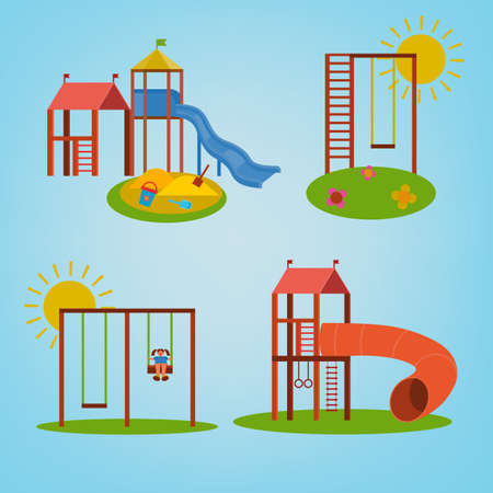 Beautiful children playground set. illustrations in bright blue, green, yellow and orange colours in cartoonish style. Illustration