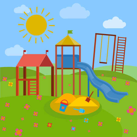 Beautiful children playground. illustration in bright blue, green, yellow and orange colours in cartoonish style. Illustration