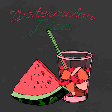 Watermelon juice. illustration on a textured background. Unique artistic concept Illustration