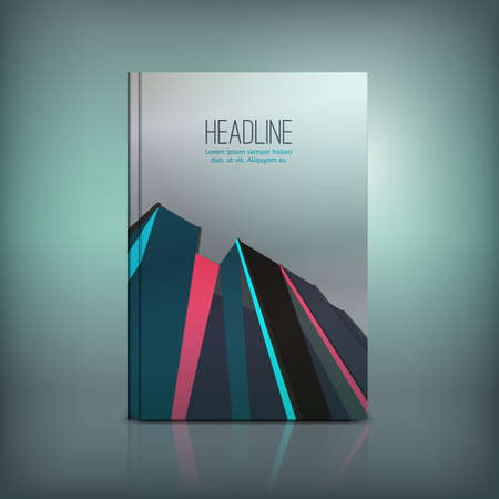 vertical format: Brochure cover template. Modern background for poster, print, book, booklet, brochure and leaflet design. Editable graphic collection in blue, pink, silver and black colors