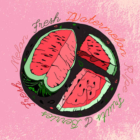 Watermelon image. illustration on a textured background. Unique artistic concept in red, pink, green and grey colours.