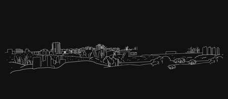 The illustration of outlined landscape on a dark grey background.