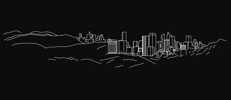 The illustration of  outlined landscape on a dark grey background. Illustration