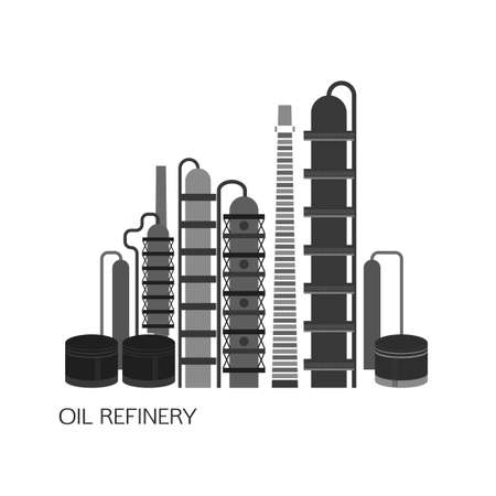 Oil refinery or chemical plant image. illustration im black and grey colors on a white background. Oil patch symbol