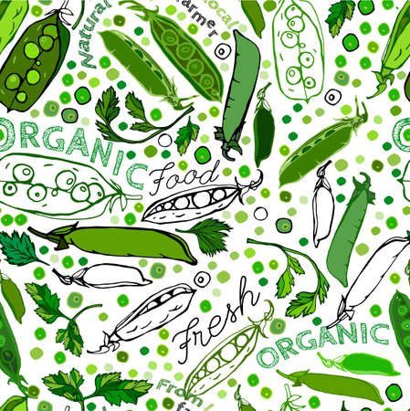 seamless pattern in white, black and green colours. illustration with peapods in artistic  style. Eco and bio natural concept.