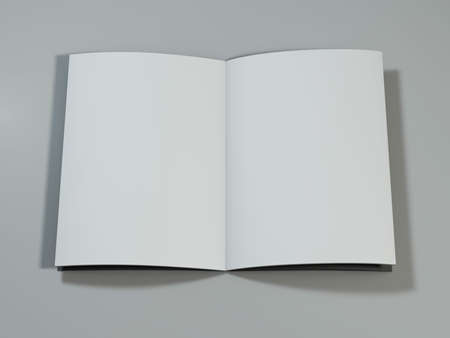 open magazine: Open magazine with blank pages on white desk. 3D rendering.