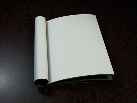 open magazine: Open magazine with blank pages on wood desk. 3D rendering. Stock Photo