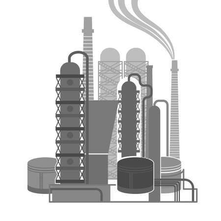 oilwell: Oil refinery or chemical plant image. Vector illustration im black and grey colors on a white background. Oil patch symbol