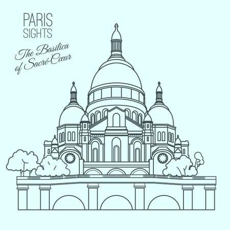 파리의 신성한 심장 성당. 연한 파란색 배경에 고립 된 현대적인 스타일의 아름 다운 벡터 일러스트 레이 션. 파리 주요 명소 컬렉션. 일러스트