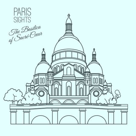 montmartre: The Basilica of the Sacred Heart of Paris. Beautiful vector illustration in modern style isolated on a light blue background. Paris main sights collection.