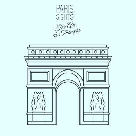 The Arc de Triomphe in Paris. Beautiful vector illustration in modern style isolated on a light blue background. Paris main sights collection.