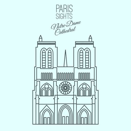 roman catholic: Notre-Dame Cathedral in Paris. Beautiful vector illustration in modern style isolated on a light blue background. Paris main sights collection.