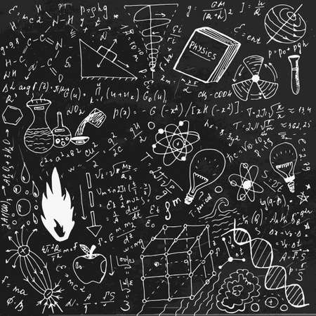 The illustration of beautiful black scientific background with chalk handwriting. Physical class blackboard. Totally vector fully scalable image with white handwritten text. Illustration