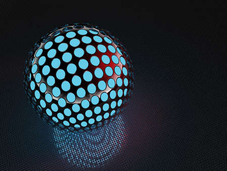 perforated chrome sphere on metall plane. 3D rendering Stock Photo
