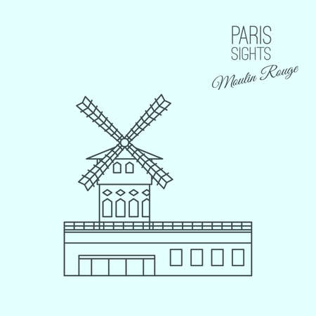 moulin: The Moulin Rouge in Paris. Beautiful vector illustration in modern style isolated on a light blue background. Paris main sights collection.