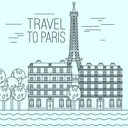Paris cityscape with Seine River, EIffel Tower and traditional embankment. Beautiful vector illustration in modern style isolated on a light blue background. Paris main sights collection.