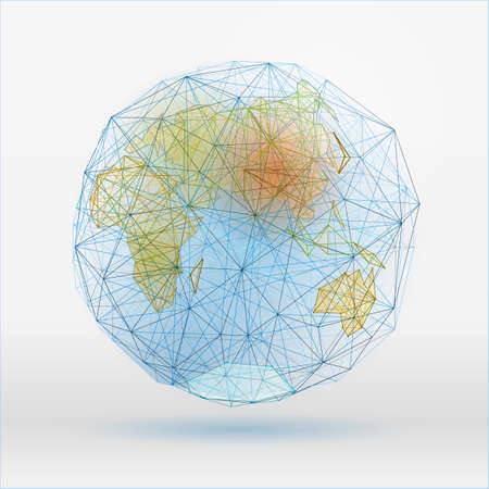 globus: Abstract polygonal world map with dots connecting lines, network connections. Digital globe concept. Beautiful vector illustration in blue, green and terracotta colours on a light background. Illustration