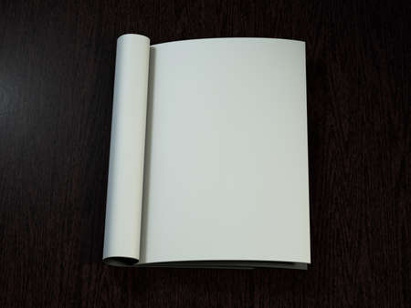 blank magazine: Open magazine with blank pages on wood desk. 3D rendering. Stock Photo