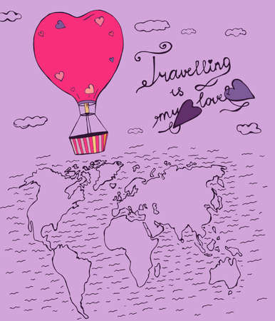 flying balloon: Flying balloon in a shape of heart  hand drawn image. Beautiful vector illustration in violet and pink colours. Travelling is my love creative concept.