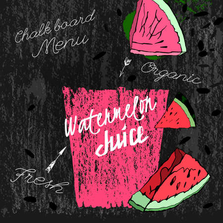 Watermelon juice. Beautiful hand drawn vector illustration on a textured chalkboard background. Unique artistic concept