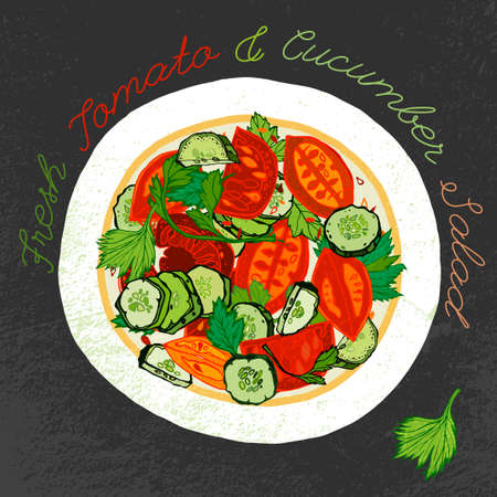cucumber salad: Fresh tomato and cucumber salad on a white ceramic plate. Beautiful hand drawn illustration. Artistic drawing in red, green, orange and gray colors on a dark textured background.
