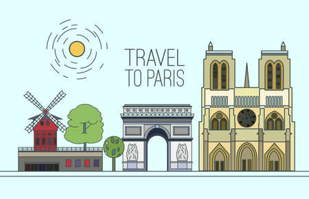 moulin: Paris cityscape with Notre-Dame de Paris, The Arc de triomphe and Moulin Rouge. Beautiful vector illustration in modern style isolated on a light blue background. Paris main sights collection.