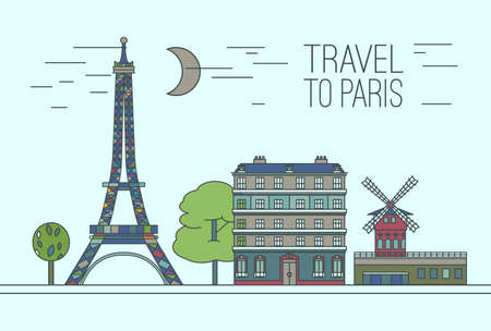 moulin: Paris cityscape with Eiffel Tower, Moulin Rouge and traditional houses. Beautiful vector illustration in modern style isolated on a light blue background. Paris main sights collection.